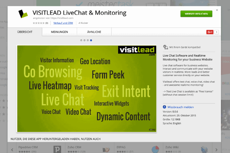Visitlead in the Google Store