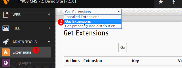 TYPO3 Extension Manager öffnen