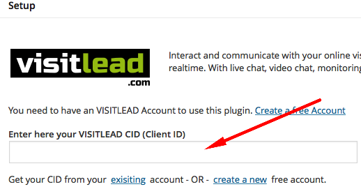 Install Wordpress Live Chat Plugin. Insert CID